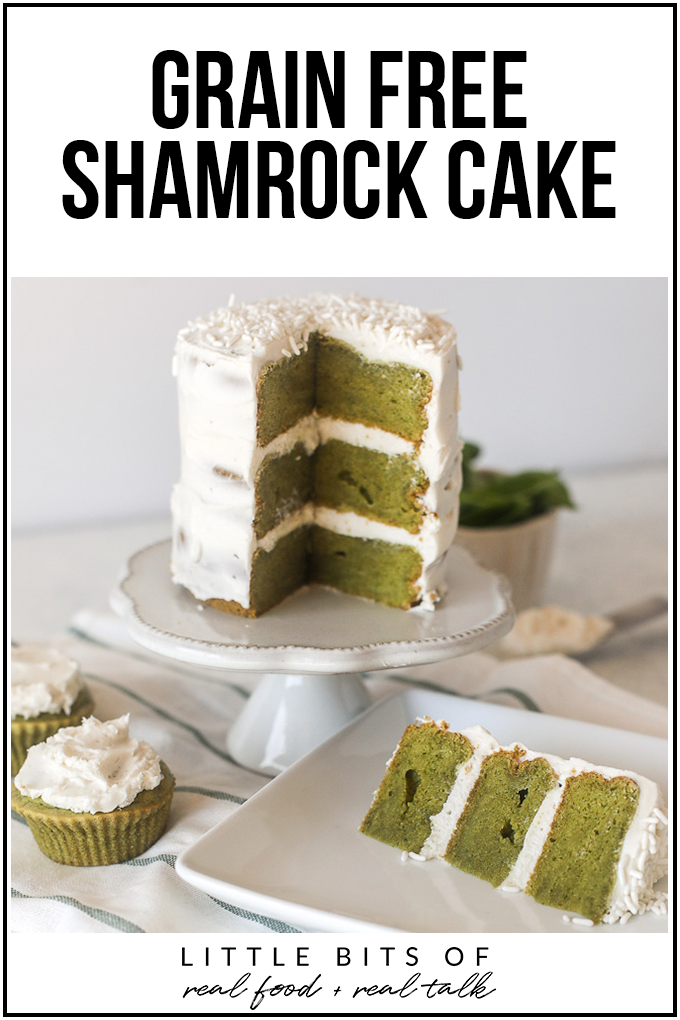 This Grain Free Shamrock Cake is like your favorite st. patricks day shake in a cleaner cake form!