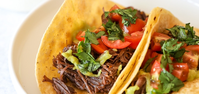 These Citrus Garlic Shredded Beef Tacos are made extra simply in the instant pot and are whole30 compliant!