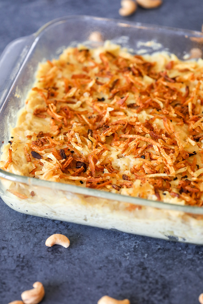 This Creamy Cashew Potato Casserole is whole30 compliant and so so deliciously decadent!