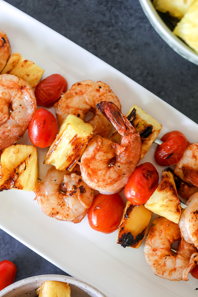 These Pineapple BBQ Shrimp Skewers are Whole30 compliant, super easy to make and great to toss on the grill this summer!