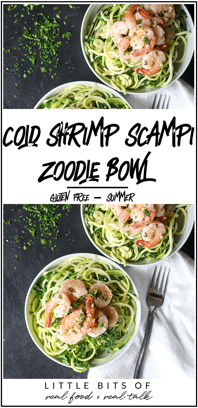 This Cold Shrimp Scampi Zoodle Bowl is the perfect summer lunch or dinner on a warm day!