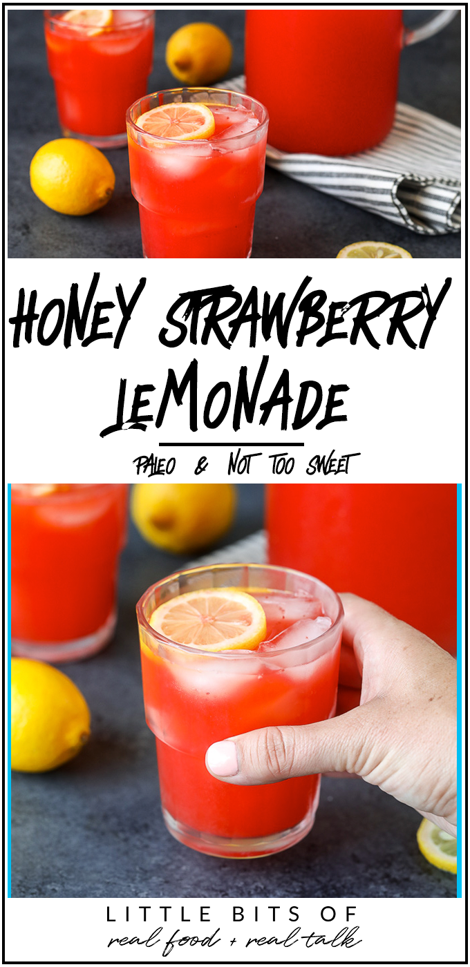 This Honey Strawberry Lemonade is a delicious and refreshing paleo friendly drink that is sweetened with honey and not too sweet!