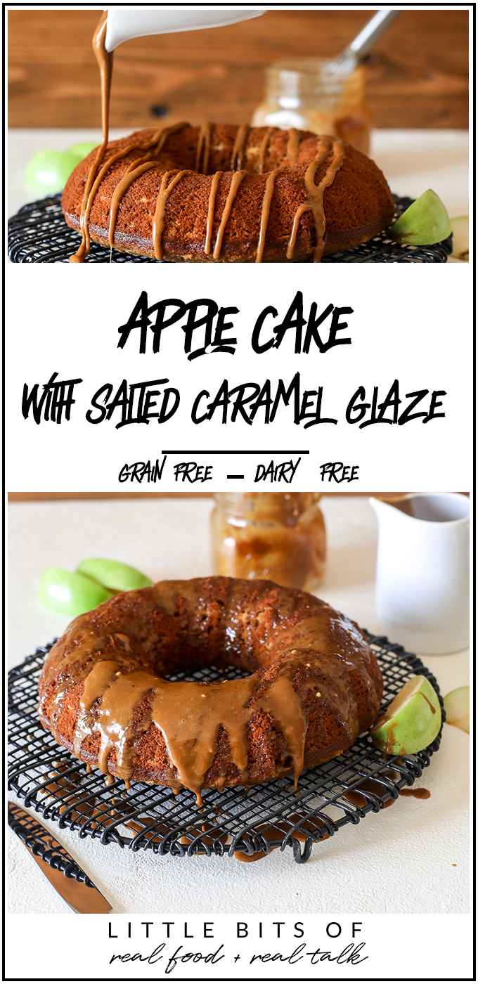 This apple cake with salted caramel glaze is grain free, dairy free and perfect for a healthy fall treat!