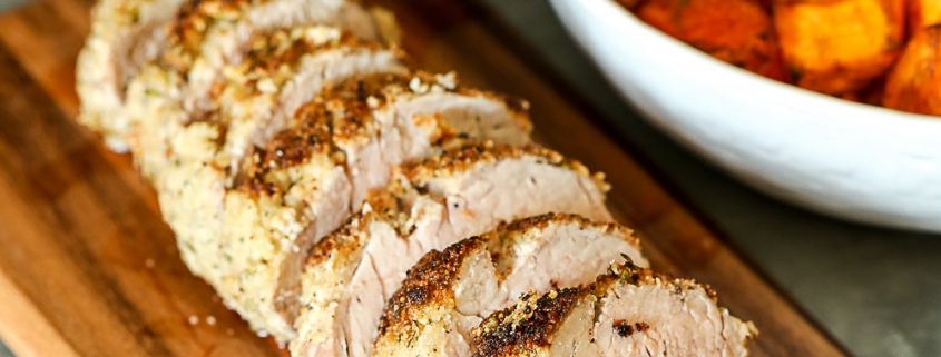 This Garlic Rosemary Crusted Pork Tenderloin is simple enough for a weeknight but flavorful enough for a main event! It is packed with flavor and the whole30 breading keeps it nice and moist!