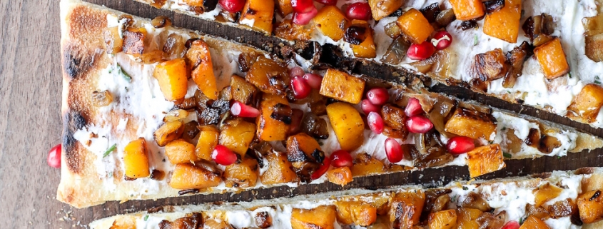 This Grilled Butternut Squash & Goat Cheese Flatbread is so easy to make and such a crowd pleaser!