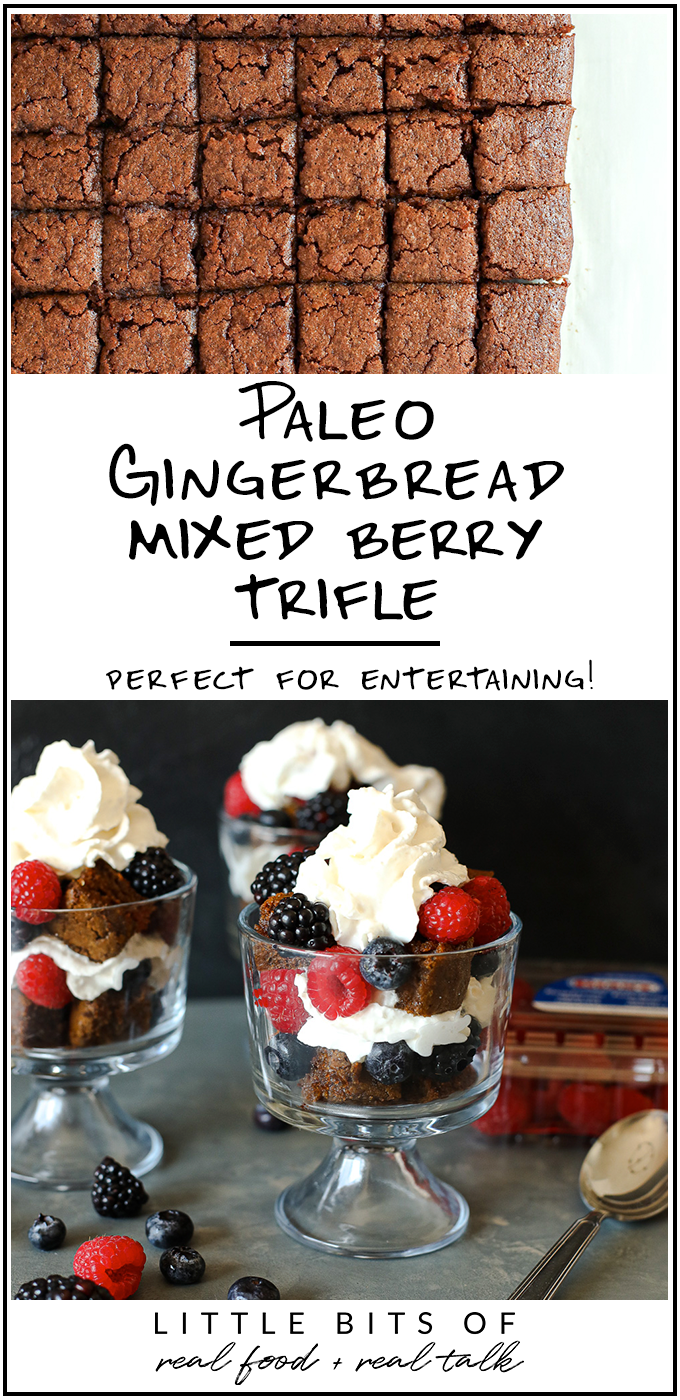 This Gingerbread Mixed Berry Trifle is Paleo and happens to be the perfect combination of holiday spices and fresh flavor!