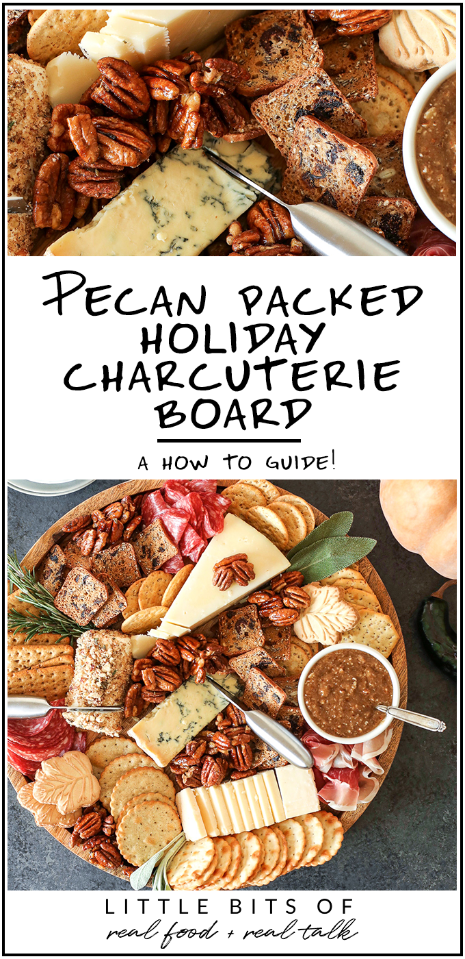 This Pecan-Packed Holiday Charcuterie Board has Maple Sage Pecans, a Rosemary Pecan Crusted Goat Cheese and a Honey Cinnamon Pecan spread that will wow any crowd this holiday!