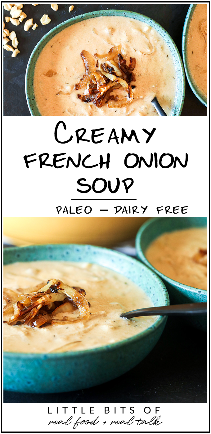 This Creamy French Onion Soup is dairy free, paleo and a perfect nourishing soup for cold months!