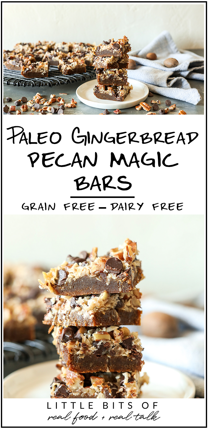 This Paleo Gingerbread Pecan Magic Bars recipe is so delicious and you would never believe it is dairy free!