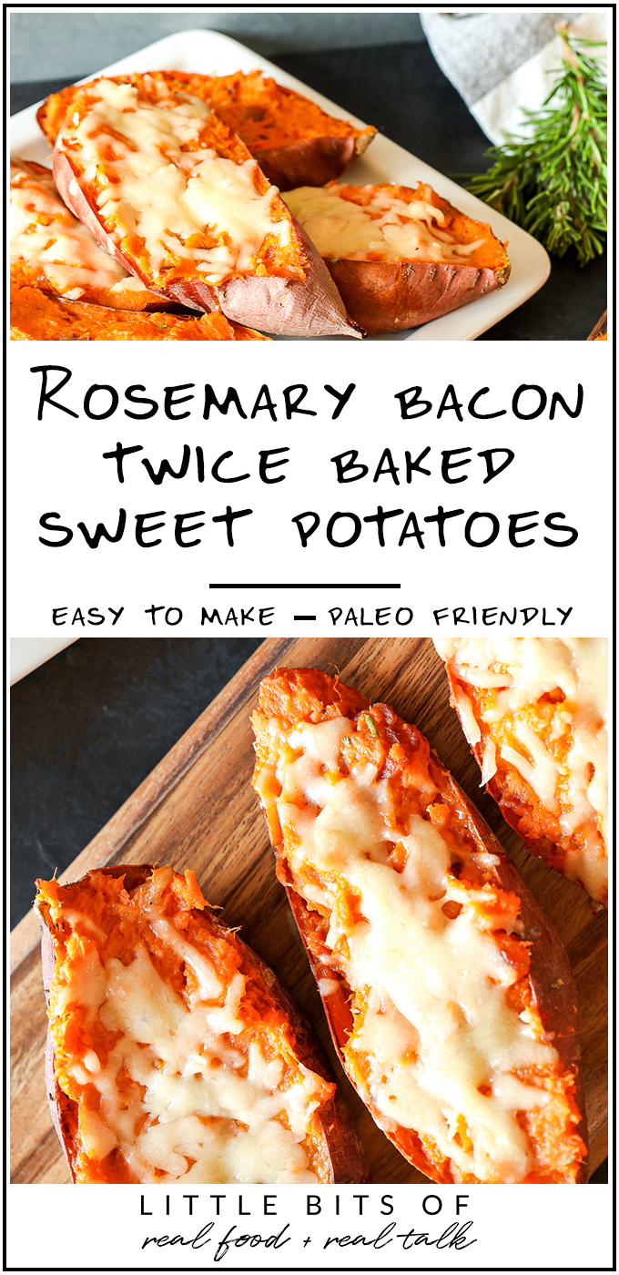 These Rosemary Bacon Twice Baked Sweet Potatoes are easy to make and so delicious!