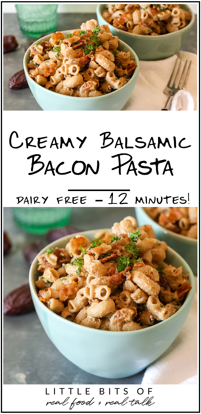 This Creamy Balsamic Bacon Pasta recipe is so easy to make, gluten free, dairy free and delicious!
