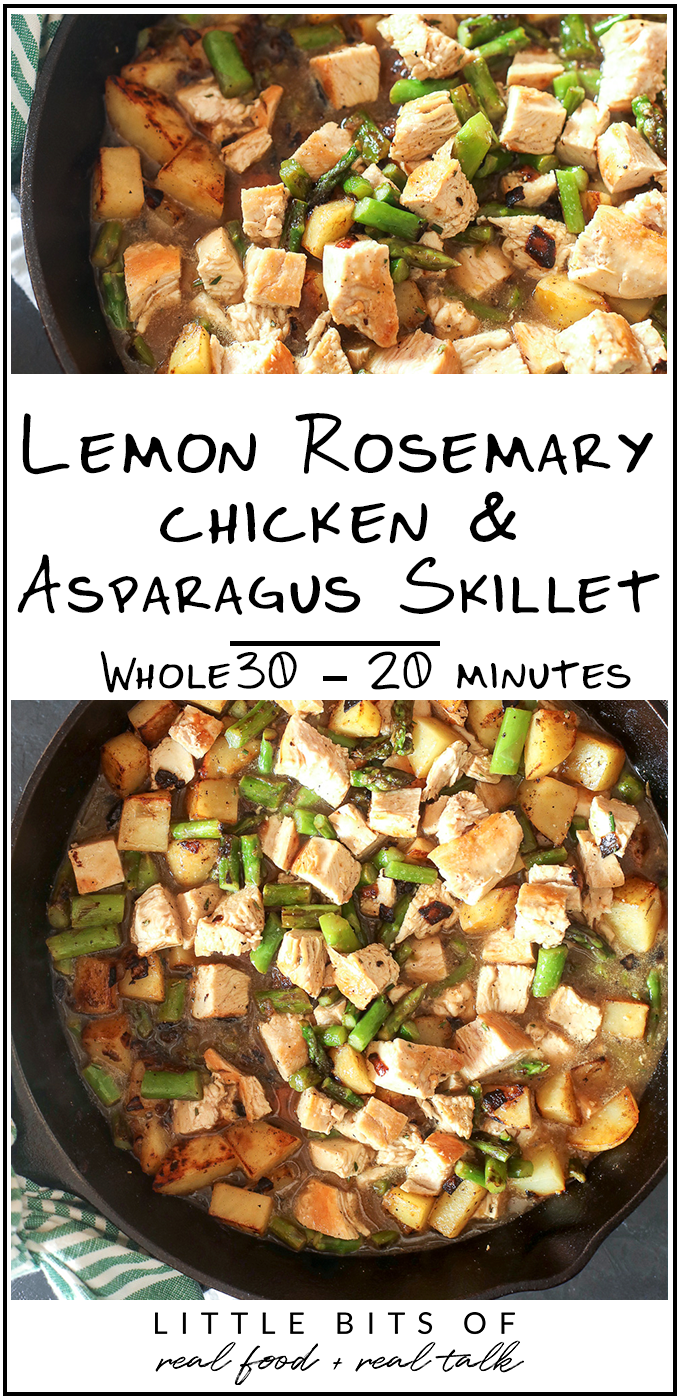 This Lemon Rosemary Chicken & Asparagus Skillet is a simple, healthy and Whole30 compliant dinner that is perfect for busy weeknights!