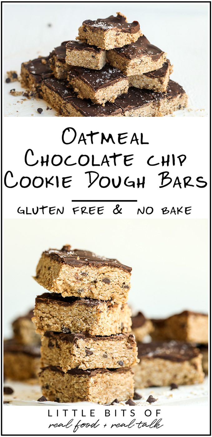 These Oatmeal Chocolate Chip Cookie Dough Bars are gluten free, dairy free, refined sugar free and no bake! They are so simple and so tasty.