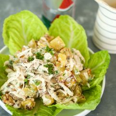 This Chicken Bacon Ranch Potato Salad is so delicious and can be served as a main dish for lunch or a side dish!