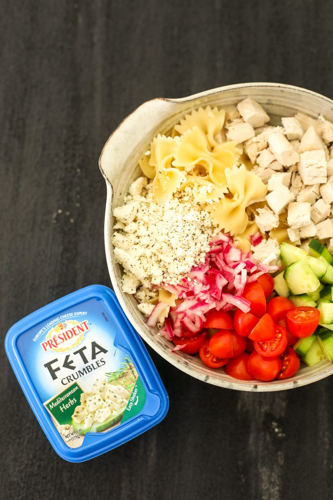 This Greek Pasta Salad with Lemon Herb Tahini Dressing is so easy to make and packed with flavor!