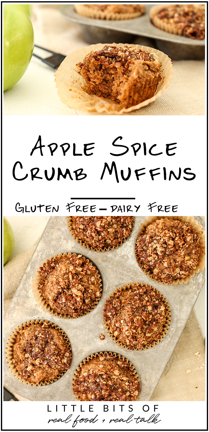 These Apple Spice Crumb Muffins are easy to make with simple ingredients that are gluten free and dairy free!