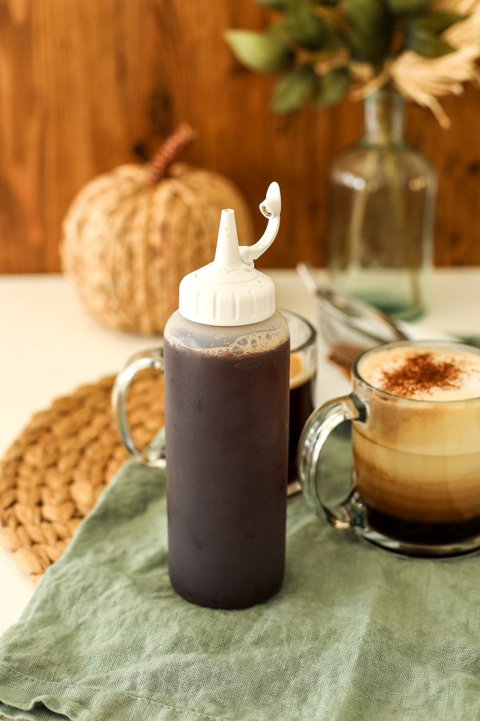 This Maple Pumpkin Spice Simple Syrup is perfect to add to a latte, coffee, americano or any drink you like!