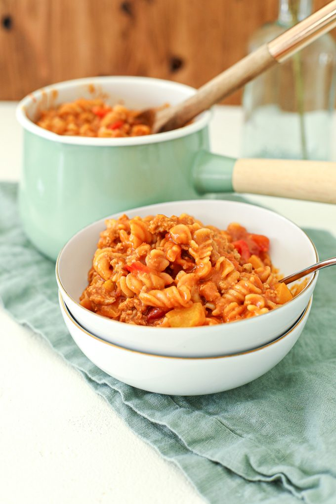 This One Pot Turkey Curry Pasta is dairy free, gluten free and comes together super quickly in one pot!