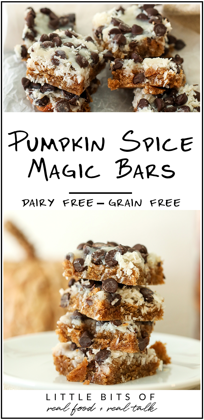 These Pumpkin Spice Magic Bars are dairy free, grain free and super easy to make!