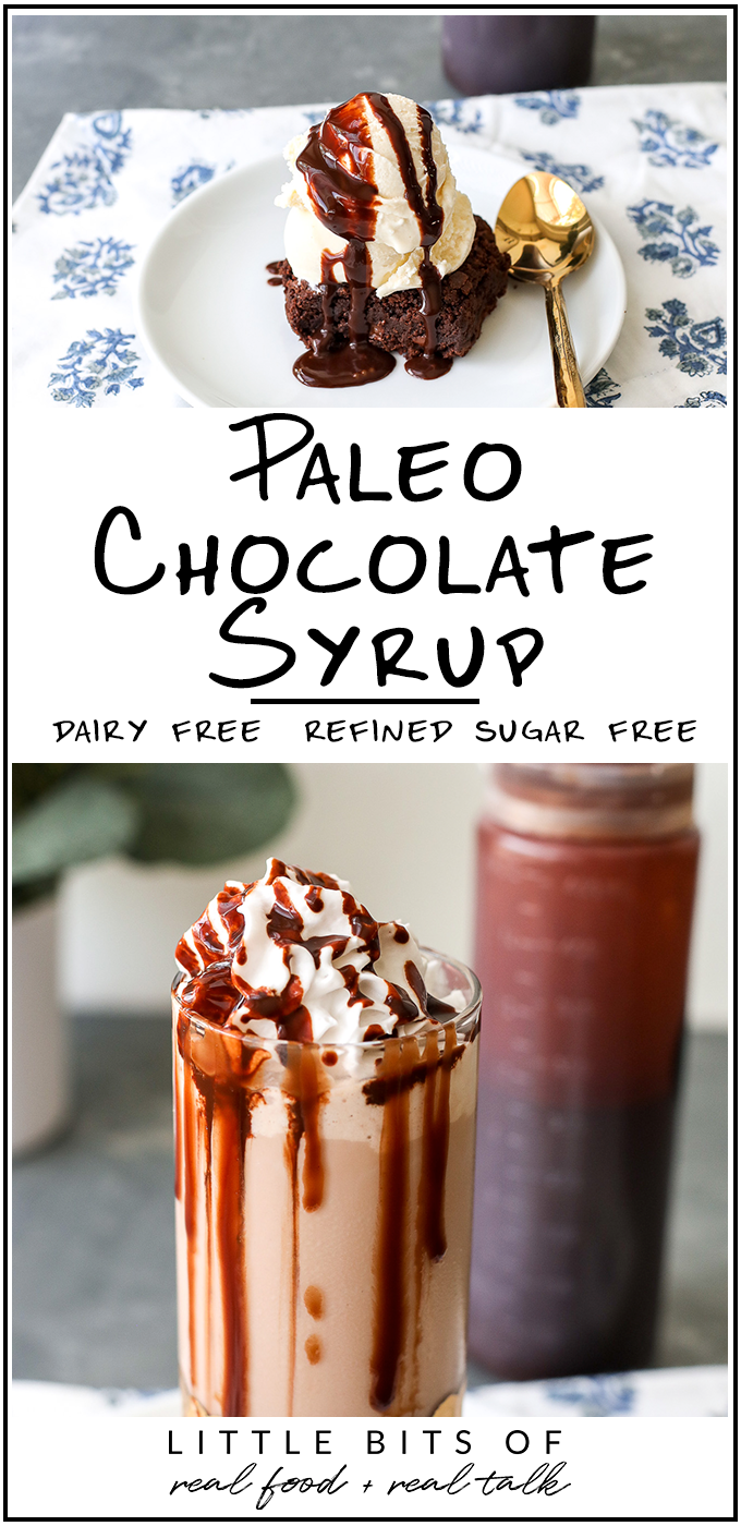 This Paleo Chocolate Syrup is dairy free, refined sugar free and great for chocolate milk, coffee or on ice cream!