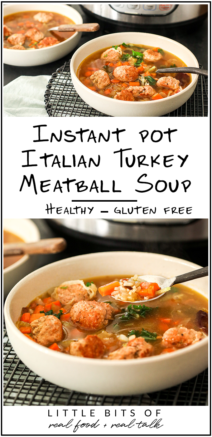 This Instant Pot Italian Turkey Meatball Soup is super easy to make and so full of flavor! It is gluten free and a crowd pleaser for the whole family.