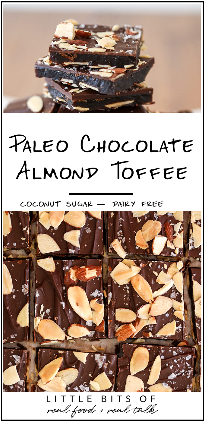 This Paleo Chocolate Almond Toffee is super easy to make and made with coconut sugar and ghee so it is refined sugar free and dairy free!
