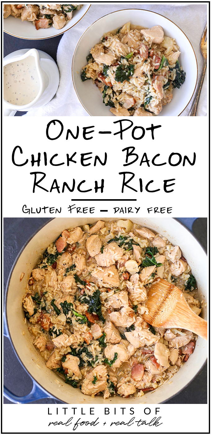This One-pot Chicken Bacon Ranch Rice is a super easy, gluten free, dairy free recipe that will become a staple in your house!
