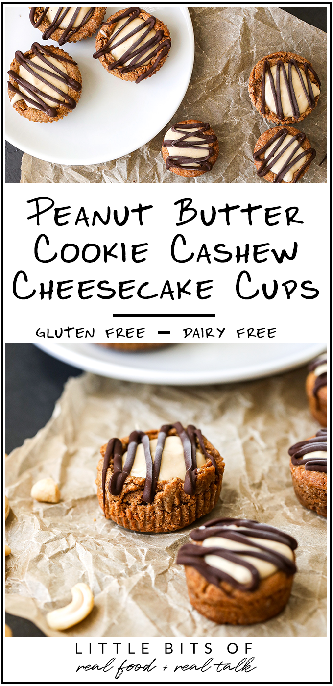 These Peanut Butter Cookie Cashew Cheesecake Cups are the perfect treat to have in your freezer and are gluten free and dairy free!