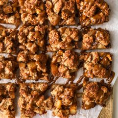 These Pear & Hazelnut Crumb Bars with Salted Caramel Drizzle are grain free, gluten free and a healthy dessert that is delicious!