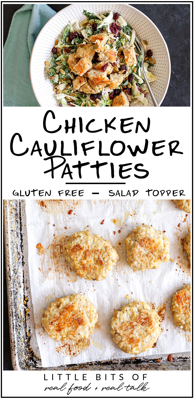 These Chicken Cauliflower Patties are so great to make a batch of for meal prep for the week. You can serve as a burger or chopped up on a salad!
