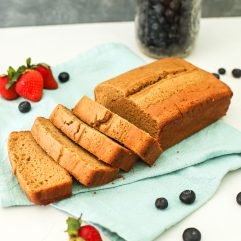 This Vanilla Almond Flour Pound Cake is so easy to make and the perfect gluten free and dairy free base to berries and whipped cream!